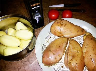 Очистить картофель и нарезать дольками
